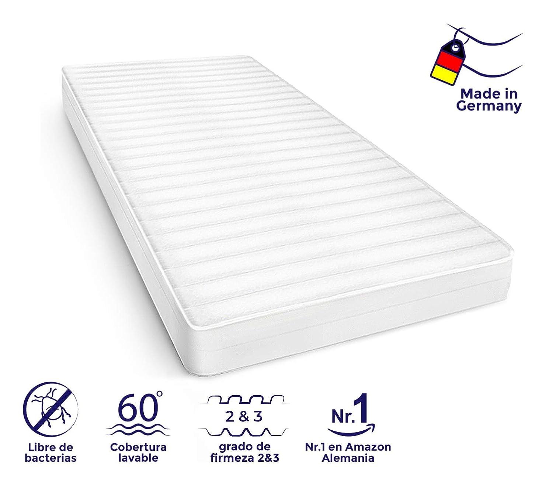 Colchón de Espuma fría, firmeza del colchón Grado 2 & 3, 7 Zonas, Todas Las Medidas, se envía Enrollado, Made in Germany (140 x 200 cm): Amazon.es: Hogar