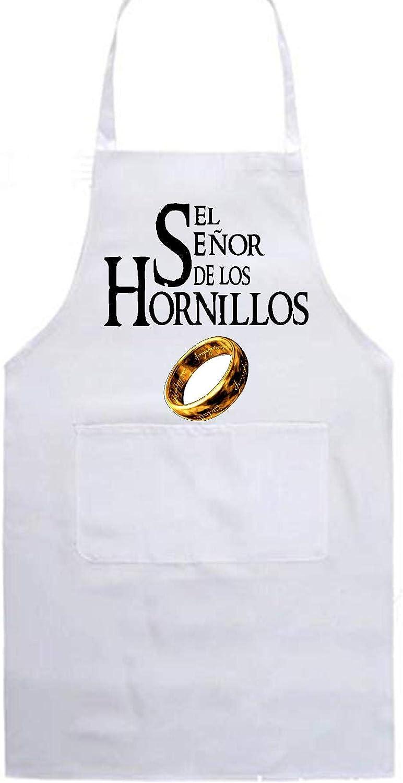 SAQUITOMAGICO Delantal de Cocina El se/ñor de los hornillos Blanco