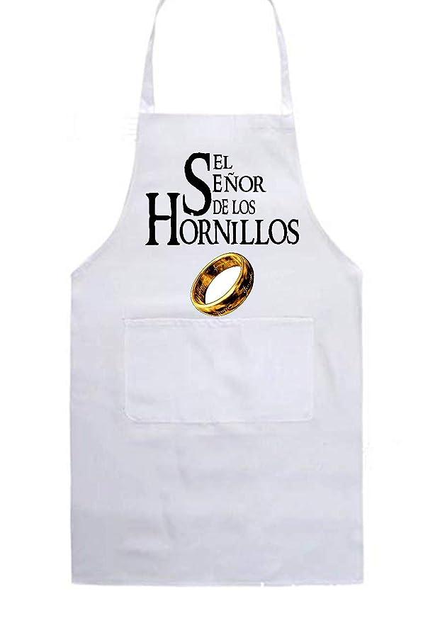 SAQUITOMAGICO Delantal de Cocina El señor de los hornillos (Blanco ...