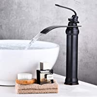 KUNGYO Vintage badkamer hoge wastafel kraan - zwart toilet keuken badkamer roerapparaat kraan uittrekken oliebrons…