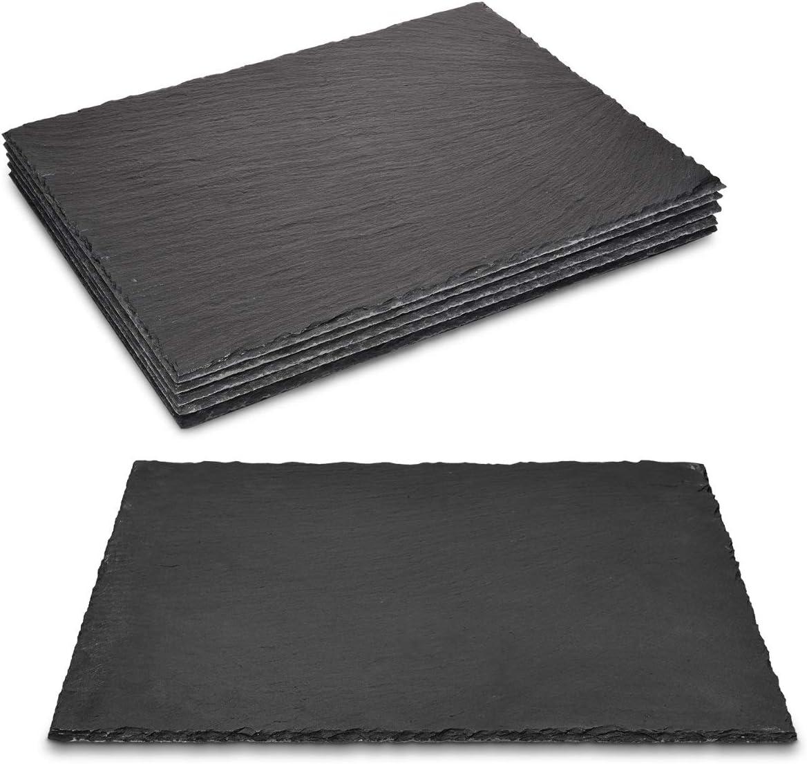 38 x 28 cm Navaris Natural Slate Serving Plates Large Rectangular Stone Table Mat Serving Platter Tiles Set of 6 Slate Place Mat Serving Trays