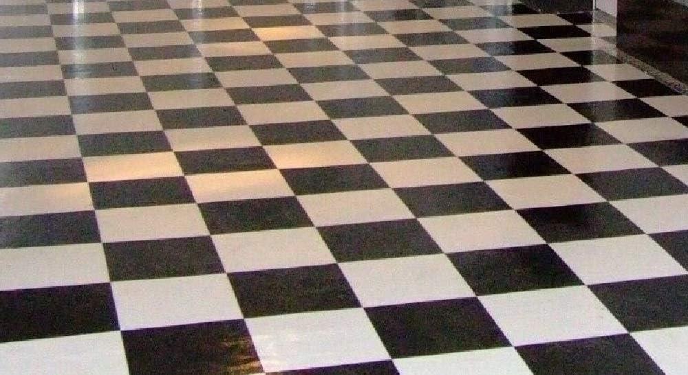 Thaisan7 Black White Checkered Checkerboard Garage Kitchen Vinyl Flooring Livable Home Special Relax Decor Improvment Size 8 X12 Kitchen Dining