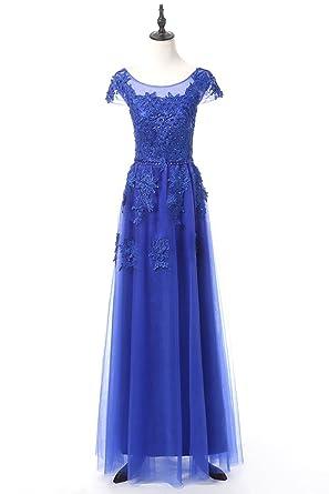 zeeber Royal Blue Tulle Flower Lace Applique Cap Sleeve Prom Dresses Long ¡