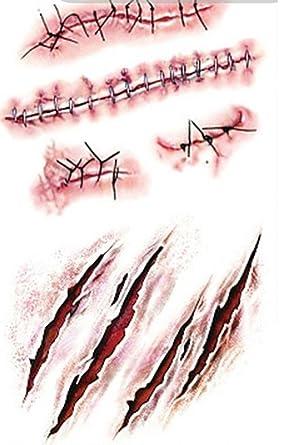Smile YKK 5pcs Halloween personalidad sangre cicatriz tatuaje ...