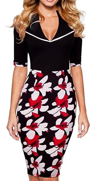 Homeyee diseño de flores de fina de solapa de la mujer vestido Formal vestido de fiesta