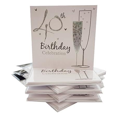 40th con texto en inglés y tarjetas de invitación para ...