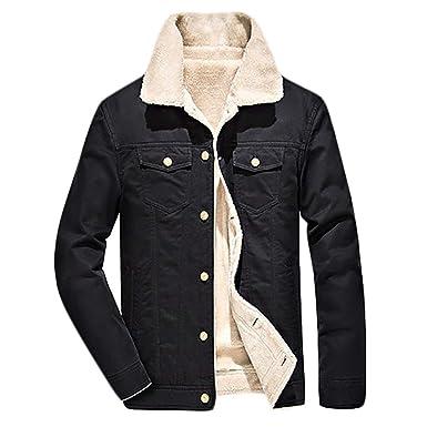 3f3fe6ef062 SELX Men Plus Size Outdoor Windproof Coats Two Pockets Light Lined Fleece  Jackets Black US XS