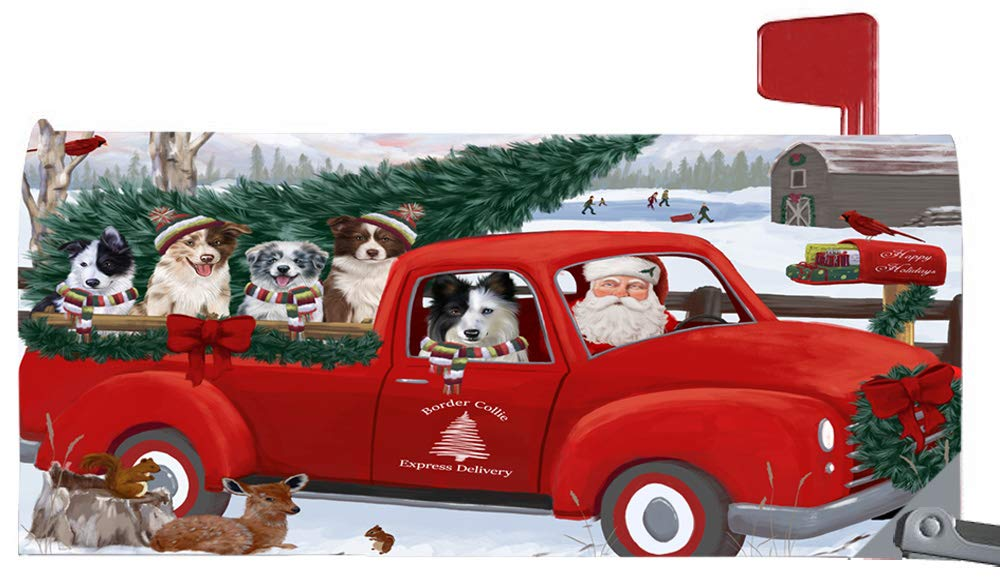 Doggie of the Day Magnetic Mailbox Cover Christmas Santa Express Delivery Border Collies Dog MBC48301