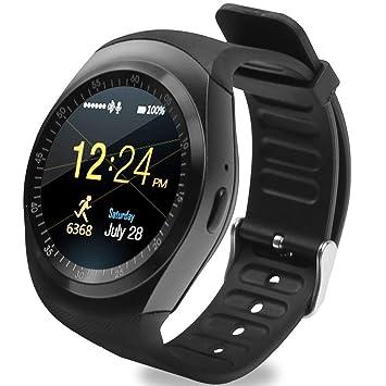 4a99cffb353 Relógio Smartwatch Y1 Original Celular Inteligente Touch Bluetooth Chip  Ligações Pedômetro Câmera (PRETO)