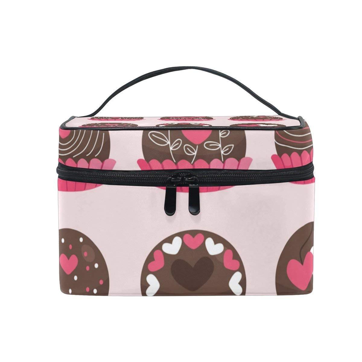 Makeup Bag Chocolate Love Mens Travel Toiletry Bag Mens Cosmetic Bags for Women Fun Large Makeup Organizer
