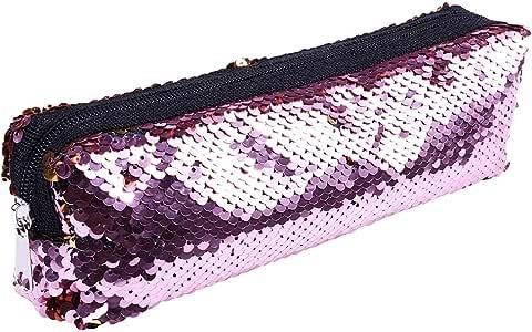 1 estuche para lápices con diseño de lentejuelas, color rosa: Amazon.es: Belleza
