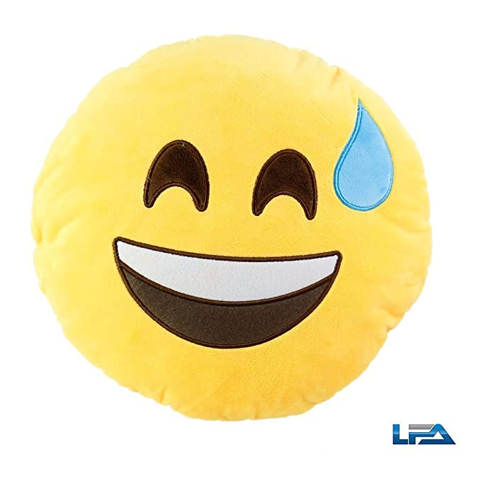 Emoji Smiley Emoticon Yellow Round Cushion Pillow Stuffed Plush Soft Toy | USA Seller (Sweating)