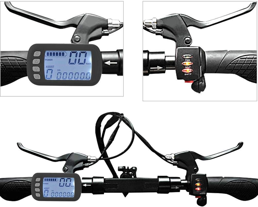 Electric Brushless Controller Waterproof LCD Display Panel LCD Panel for E-bike Electric Bike Scooter 24V//36V 250W//350W Brushless Motor Controller Kit