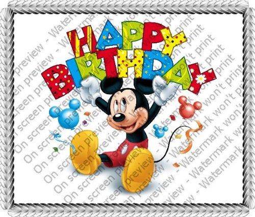 8 Round Mickey Mouse Happy Birthday Banner Birthday Edible