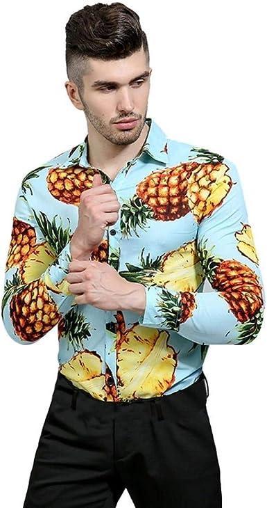 Camisa De Manga Larga para Hombre con Diseño De Modernas Casual Playa Camisa De Corte Slim para Hombre Blusa De Piña con Estampado Casual Top Camisas De Otoño: Amazon.es: Ropa y accesorios