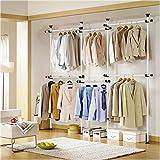 KUMEED New Adjustable 4-Tier Clothes/Garment Racks Steel Pipe Coat Clothing Hangers Organizer (4-Tier)