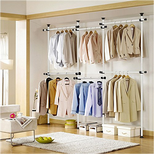 KUMEED New Adjustable 4-Tier Clothes/Garment Racks Steel Pipe Coat Clothing Hangers Organizer (4-Tier) by KUMEED