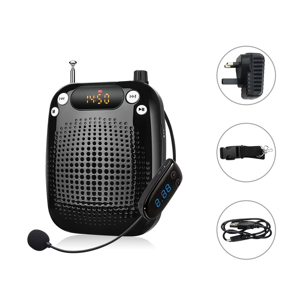 Zoweetek® Wireless Voice Amplifier with 5W 1500mAh Lithium Battery and Wireless Microphone Suitable for Tour Guides, Teachers, Coaches, Presentations, Costumes, Charger Included