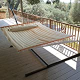 GHP Outdoor Beige Hand-Woven Cotton Rope Hammock w 450lbs Weight Capacity