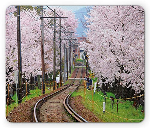 Landscape Mouse Pad, Railroad with Japanese Sakura Trees Cherry Blossoms Spring Season, Standard Size Rectangle Non-Slip Rubber Mousepad, Light Pink Green Brown ()