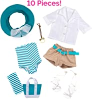 """Adora Amazing Girls 18"""" Doll Clothes – Summer Swim Outfit with One-Piece Swim Suit, Blouse, Shorts, Sun Hat, Necklace, Tote"""