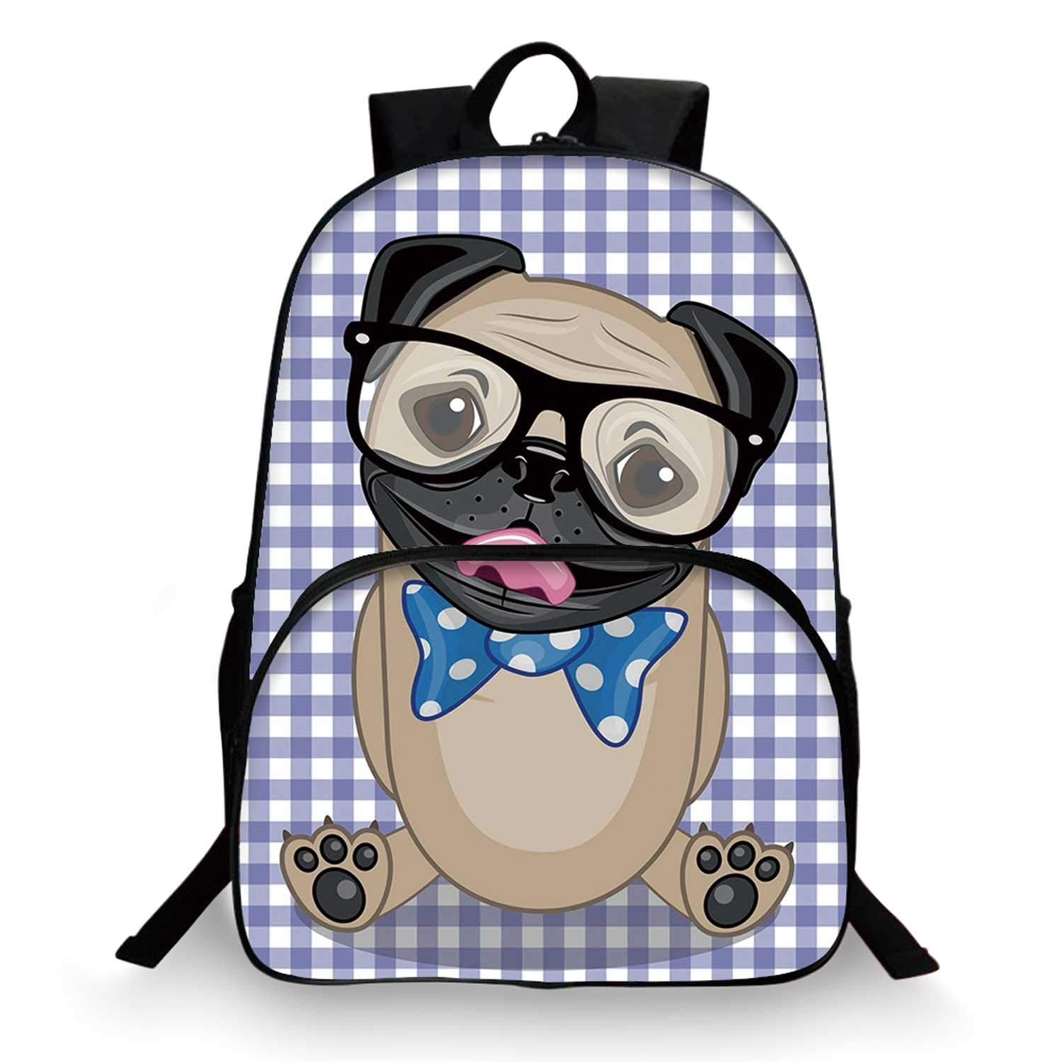 Pug Various Schoolbag,Nerdy Glasses and Dotted Bow Tie on a Puppy Pug with a Checkered Backdrop for student,11''Lx6''Wx15''H by C COABALLA