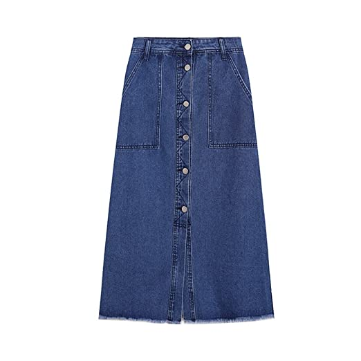 BSQZ JIN Ping® Falda, Falda Larga Denim Versión Coreana de una ...