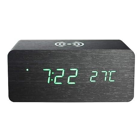 Amazon.com: GO Mano Electrónica Madera Digital LED reloj ...