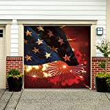 Outdoor Patriotic American Holiday Garage Door Banner Cover Mural Décoration - American Flag and Fireworks Patriotic Garage Door Banner Décor Sign 7'x8'