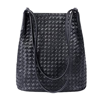 5a515c984 Amazon.com: Bucket Bags Womens Leather Handbags Purse Woven Totes Hobos  Shoulder Bags,Black: Shoes