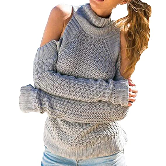4e610adeaf635 Image Unavailable. Image not available for. Color: Women Sweater  Blouse,Kshion Women Cotton Solid Long Sleeve Cold Shoulder Sweater Knitted  ...