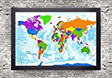 World Push Pin Map - Explorer 3 World Map - Framed - Use as a Wall Map or Pin Board Map