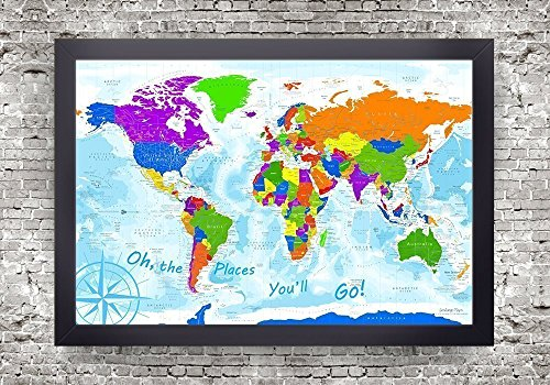 World Push Pin Map - Explorer 3 World Map - Framed - Use as a Wall Map or Pin Board Map by GeoJango