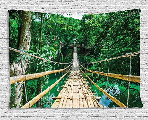 Ambesonne Tropical Tapestry, Bamboo Pedestrian Suspension Bridge Over River in Tropical Forest Philippines, Wall Hanging for Bedroom Living Room Dorm, 60 W X 40 L Inches, Beige Green