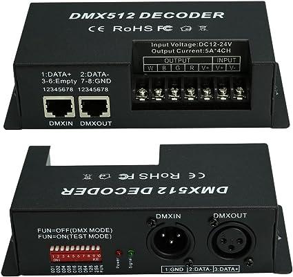4 Channels DMX Decoder RGBW LED Strip DMX512 Controller Dimmer Driver DC 12V-24V