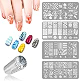 What do you think of your nails look like?Do you want your fingers to be more attractive?Do not hesitate. Just try our product.Feature: - Include 4 PCS nail template, 1 scraper and 1 stamper - Easy to use for both beginners and experienced na...