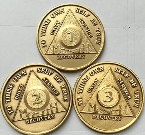 (AA Alcoholics Anonymous Medallion Set 30 60 90 Days 1 2 3 Month Bronze Months Chips Coins )