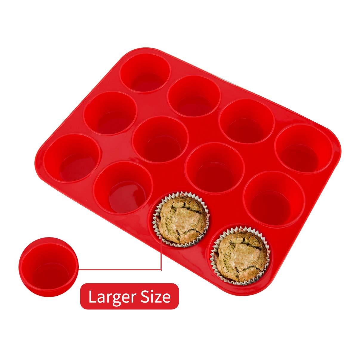 SUPER KITCHEN Gro/ße Muffinform aus Silikon f/ür 12 Muffins Kuchen Brownies Pudding 33 x 25 x 3 cm Antihaft Muffinblech Antihaftbeschichtet Backblech Backform f/ür Cupcakes Grau