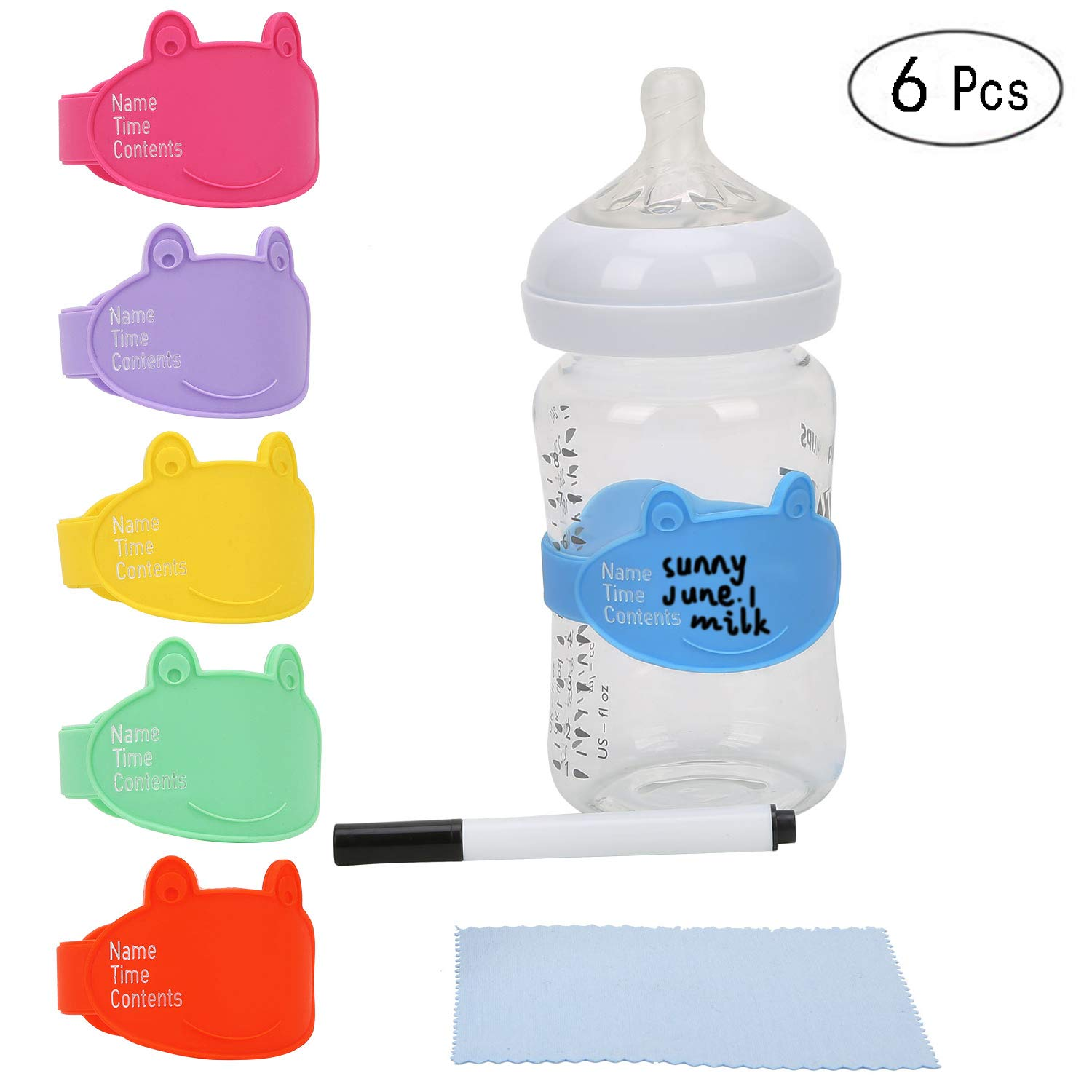 Baby Bottle Labels for Daycare, Durable Writable Reusable Food -Grade Silicone 6 Pack Baby Bottle Labels with Dry Erase Marker Foretoo by FORETOO