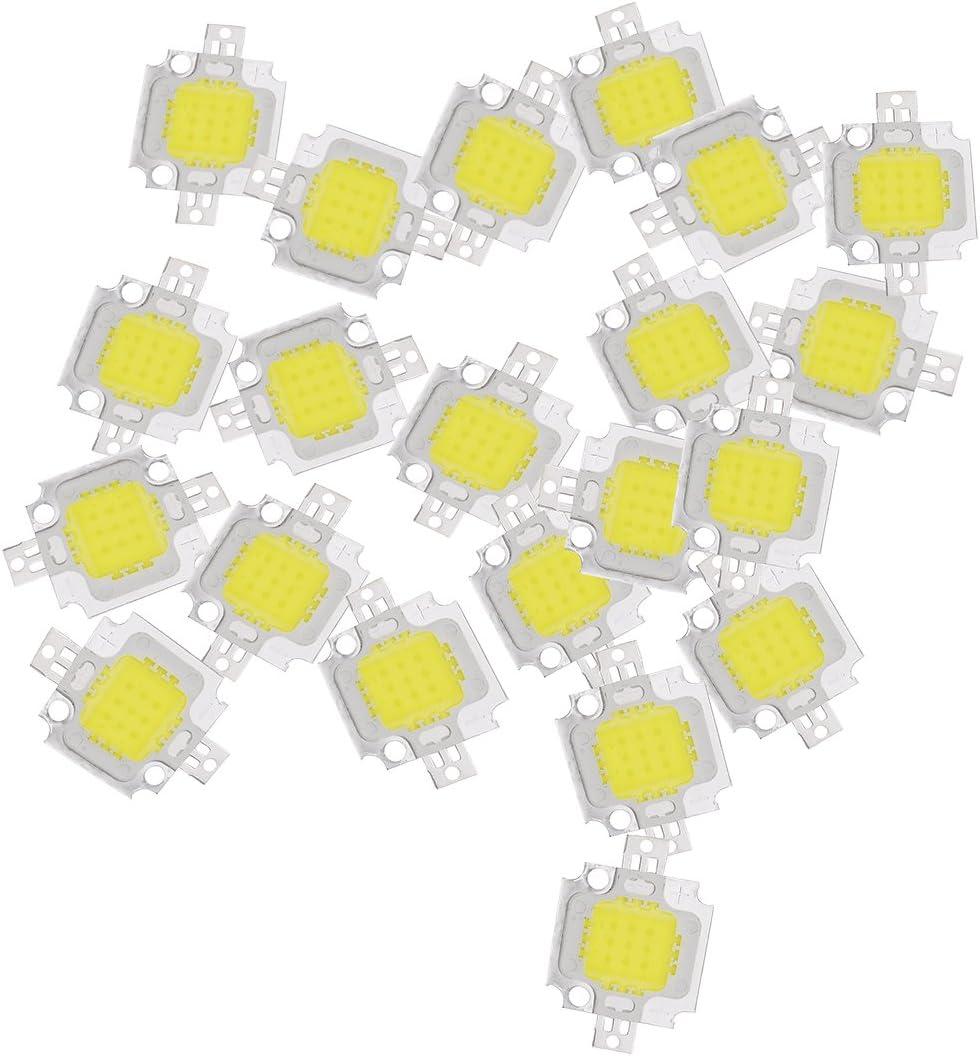 SODIAL 20pzs 10W LED blanco puro Alta potencia 1100LM LED lampara SMD bombilla luz de chip DC 9-12V