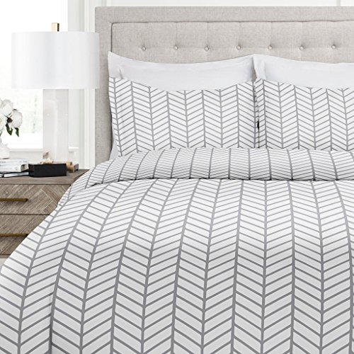 Brushed Pattern - Italian Luxury Herringbone Pattern Duvet Cover Set - 3-Piece Ultra Soft Double Brushed Microfiber Printed Cover with Shams - Twin/TwinXL - White/Light Gray