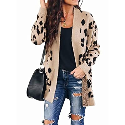 ZESICA Women's Long Sleeves Open Front Leopard Print Button Down Knitted Sweater Cardigan Coat Outwear with Pockets at Women's Clothing store