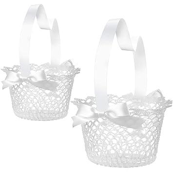 Amazon.com: Boao White Handle Wedding Flower Girl Baskets, 2 Packs ...