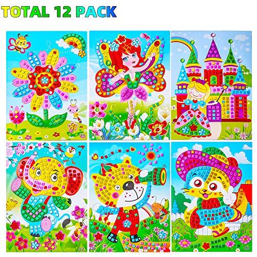 Sinceroduct Mosaic Stickers Art Kits for Kids, 12 Pack DIY Handmade Art Crafts for Kids Shine Sparkle Mosaics- Elephant Flower Cat Dinosaur Car Castle Etc.