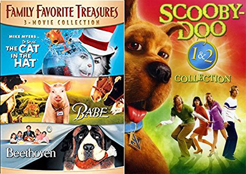 Scooby-Doo 1 & 2 Collection + Cat in the Hat & Beethoven + Babe DVD Family Movie favorites Monsters Unleashed Animal Kids Fun