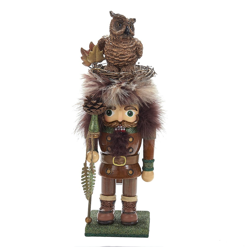 Kurt Adler 15.75'' Hollywood Woodsman Nutcracker with Owl Hat