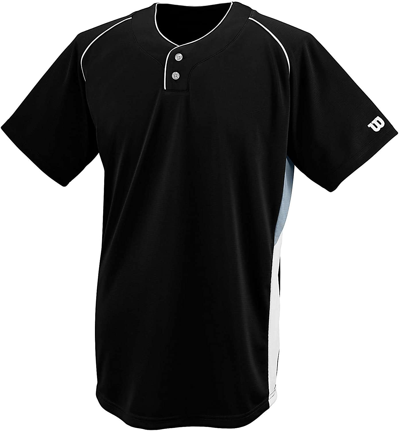 Wilson Sporting Goods Double Bar Mesh 2-Button Jersey Black Youth Large