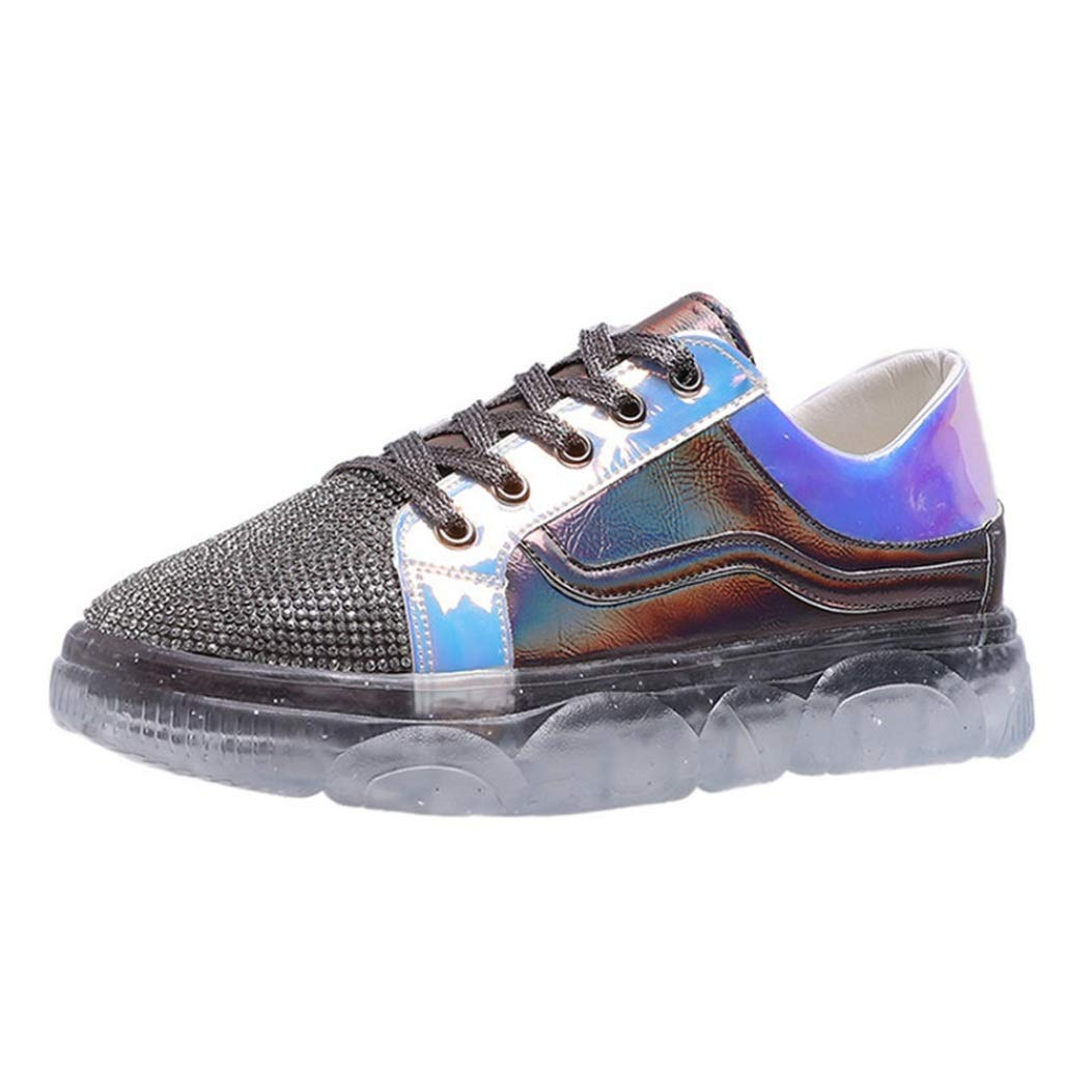 COTOROTA Fashion Womens Casual Sneakers Non-Slip Comfortable Crystal Mixed Colors Sport Shoes Low Top Lace-Up