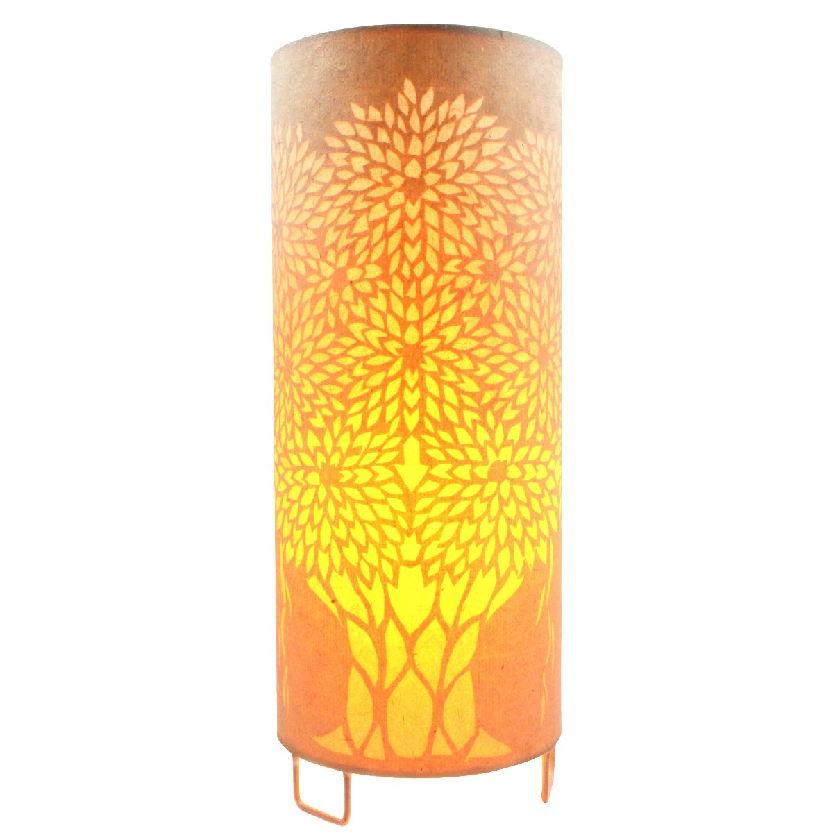 New Indian Classy Sanjhi Art Handmade Electric Decorative Tea Light Night Lamp - Crafted On Handmade Canvas Paper and Steel Base By Awarded Tribal Artisans Of India by India Meets India