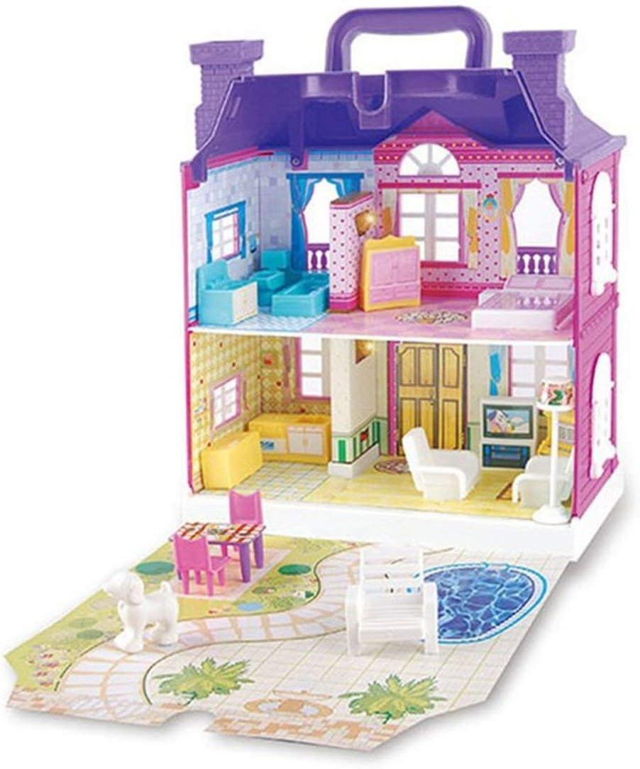 Casa de muñecas con muebles miniatura de la casa de muñecas montaje de juguetes para los niños